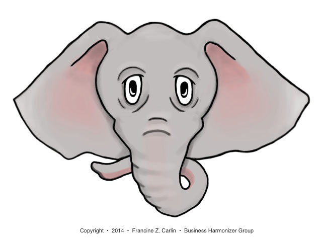 Elephant face represents avoidance of the difficult and sensitive family business issues